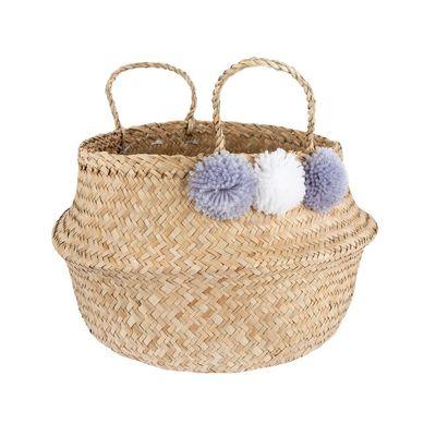 Grey Pom Pom Basket