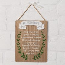 Love Story Recipe For Love Plaque