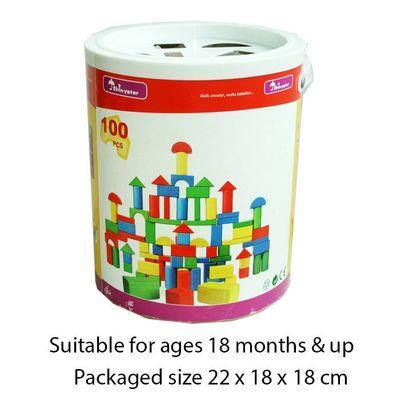 T20056 100pcs Wood Shape Sorter Bucket