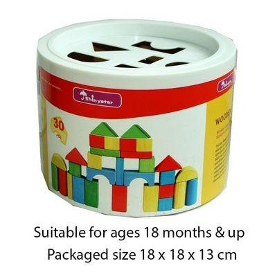T20061 30pcs Wood Shape Sorter Bucket