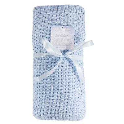 Blue Cot Size Cellular Cotton Baby Blanket