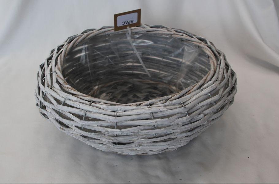 25cm Grey Split Willow Hyacinth Basket