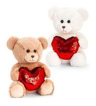 Assorted Barney Bear with Sequin Heart (30cm)