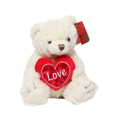 Cream Snuggles Bear with Heart (25cm)