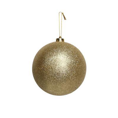 Gold Glitter Shatterproof Bauble (x1) (15cm)