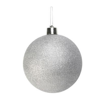 Silver Glitter Shatterproof Bauble (x1) (25cm)