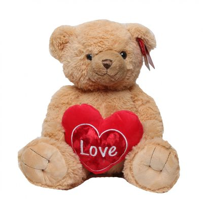 Brown Snuggles Bear with Heart (30cm)
