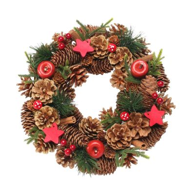 Woodland Natural Wreath w/Red Stars (30cm)