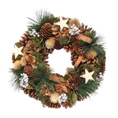 Woodland Natural Wreath w/Stars & White Berries (30cm)