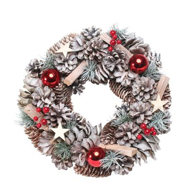 Woodland Snow Wreath w/Red Baubles (30cm)