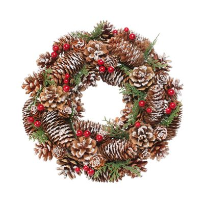 Woodland Snow Wreath w/Red Berries (30cm)