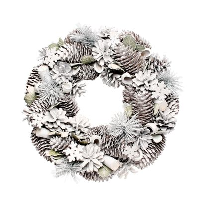 Woodland Frost Wreath w/Snowflakes (30cm)