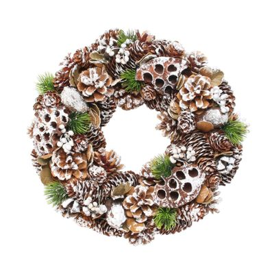 Woodland Snow Wreath w/Lotus Heads (30cm)