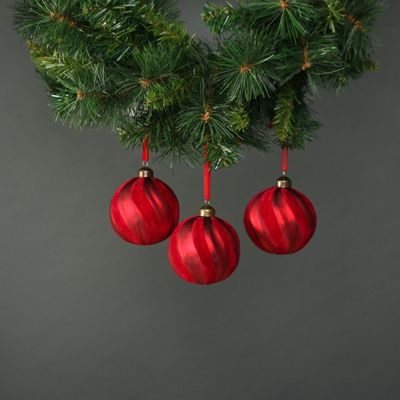 Kaia 8cm Glass Red Velvet Bauble  (S/4)