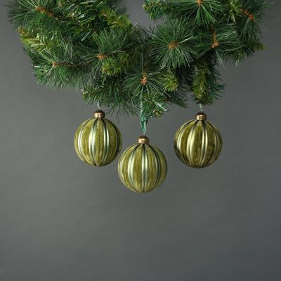 Kaia 8cm Glass Green Velvet Bauble (S/4)