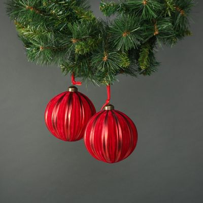 Kaia 12cm Glass Red Velvet Bauble (S/4)