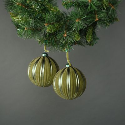 Kaia 12cm Glass Green Velvet Bauble (S/4)