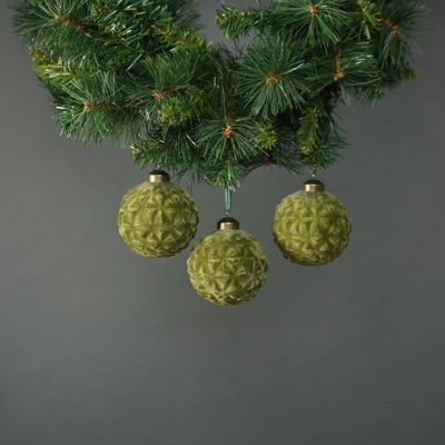 Orla 8cm Glass Forest Green Bauble (S/4)