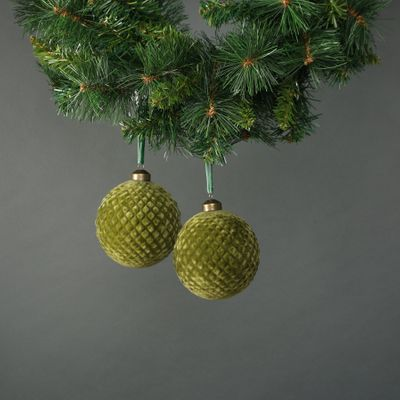 Neeve 10cm Glass Green Velvet Quilted Bauble (S/4)