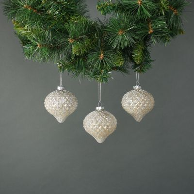 Calista 8cm Glass Onion Bauble White (S/4)