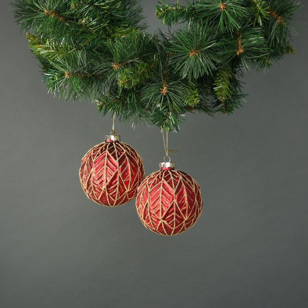 Freya Rose 10cm Glass Bauble Red (S/4)