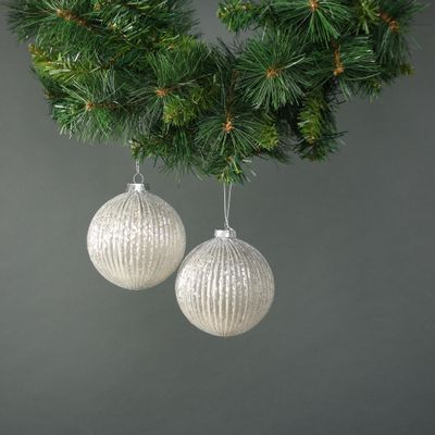 Calista 10cm Glass Bauble White (S/4)