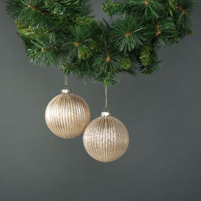 Calista 10cm Glass Bauble Gold (S/4)
