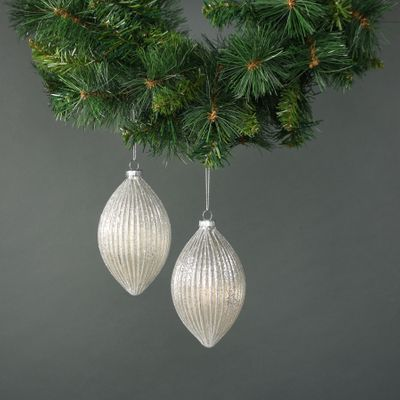 Calista Glass Drop Bauble White (S/4)