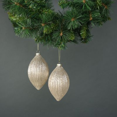 Calista Glass Drop Bauble Gold (S/4)