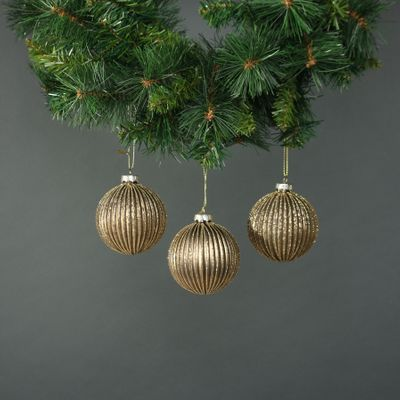 Titania 8cm Glass Bauble Gold  (S/4)