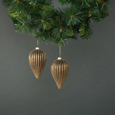 Titania Glass Drop Bauble Gold (S/4)