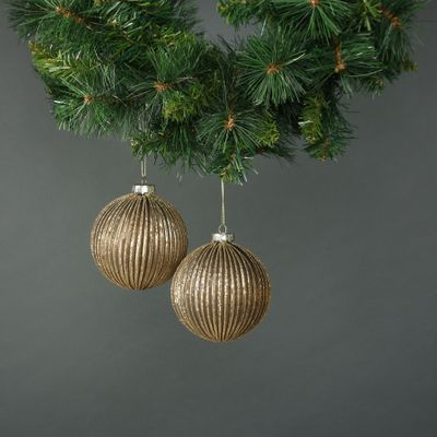 Titania 10cm Glass Bauble Gold (S/4)