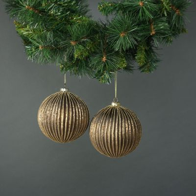 Titania 12cm Glass Bauble Gold (S/4)