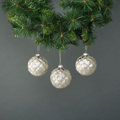 Tiana 8cm Glass Large Diamond Bauble White (S/4)