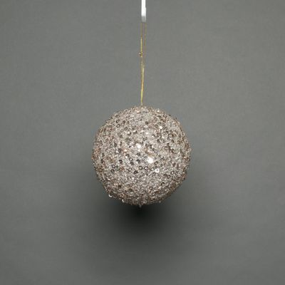 Champagne 12cm glitter bauble