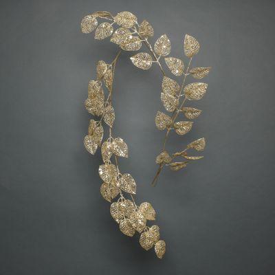Glitter Leaf garland gold 150cm