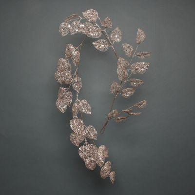 Glitter Leaf garland champagne 150cm