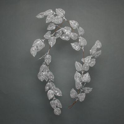 Glitter Leaf garland Silver 150cm