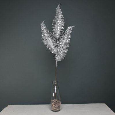 Glitter 3 fern leaf Silver stem