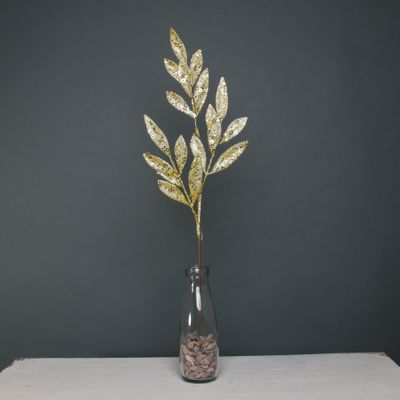 Glitter leaf spray Gold stem