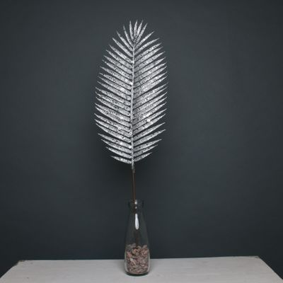 Glitter palm leaf 70cm silver stem