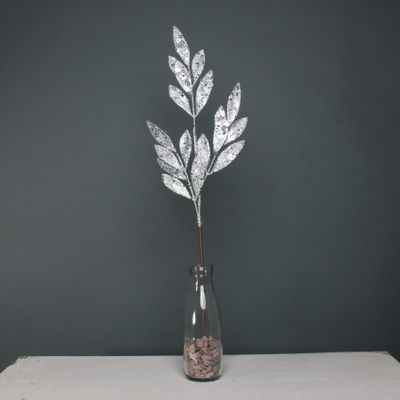 Glitter Leaf spray Silver stem