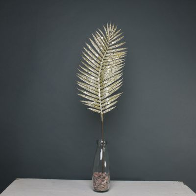 Glitter palm leaf 70cm Gold stem