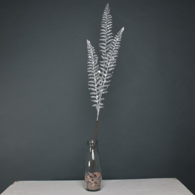 Glitter 3 leaf palm silver stem