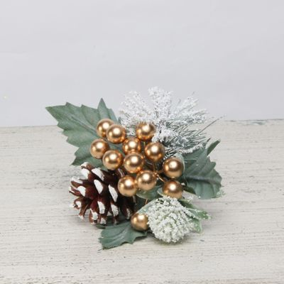 gold snowy berry, spruce and cone pick