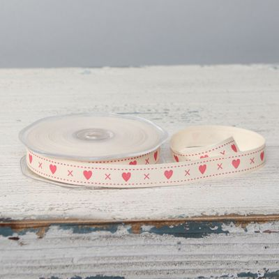 Hugs & Kisses Cotton Ribbon (15mm  x 20m)