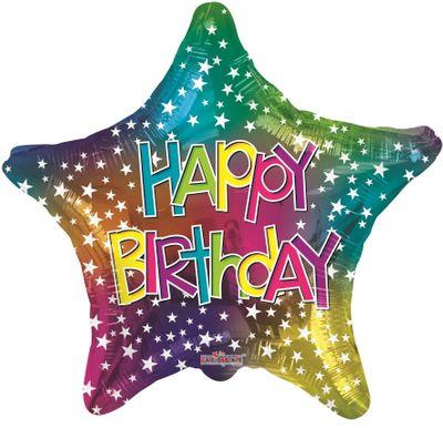 Birthday Star Multicolour Balloon (18 inch)