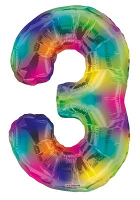 Number Balloon - 3 - Rainbow (34 inch)