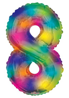 Number Balloon - 8 - Rainbow (34 inch)