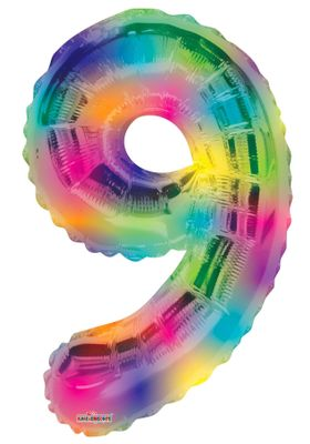 Number Balloon - 9 - Rainbow (34 inch)